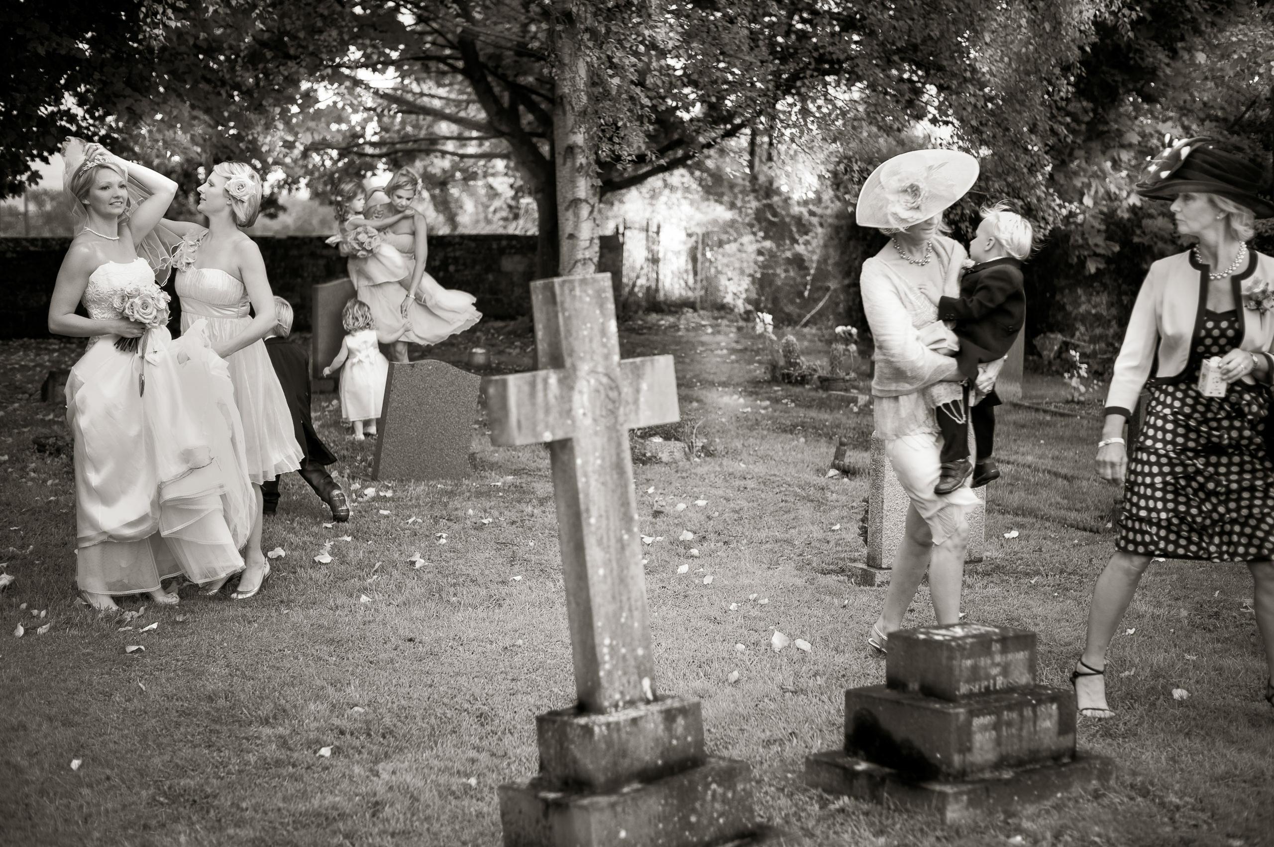 Wedding Portfolio Documentary Bride Bridesmaids Church Yard By Brett Leica Photographer