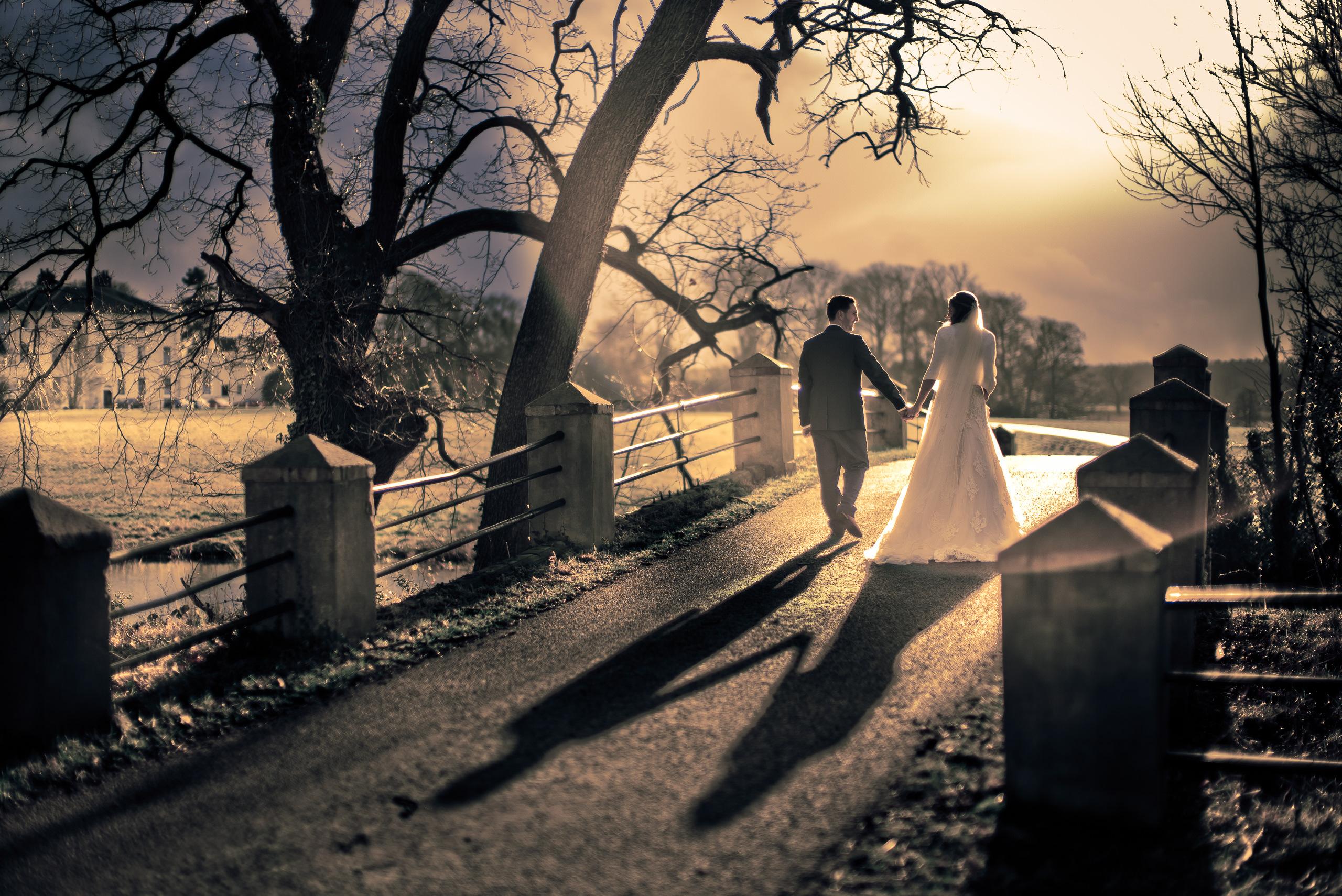 Wedding Portfolio Documentary Sunset Somerford Hall By Brett Leica Photographer