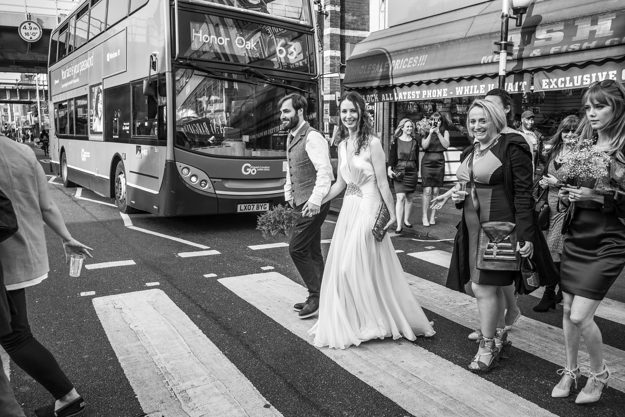 Wedding Portfolio Reportage London Bus Peckham Street Bride By Brett Leica Photographer