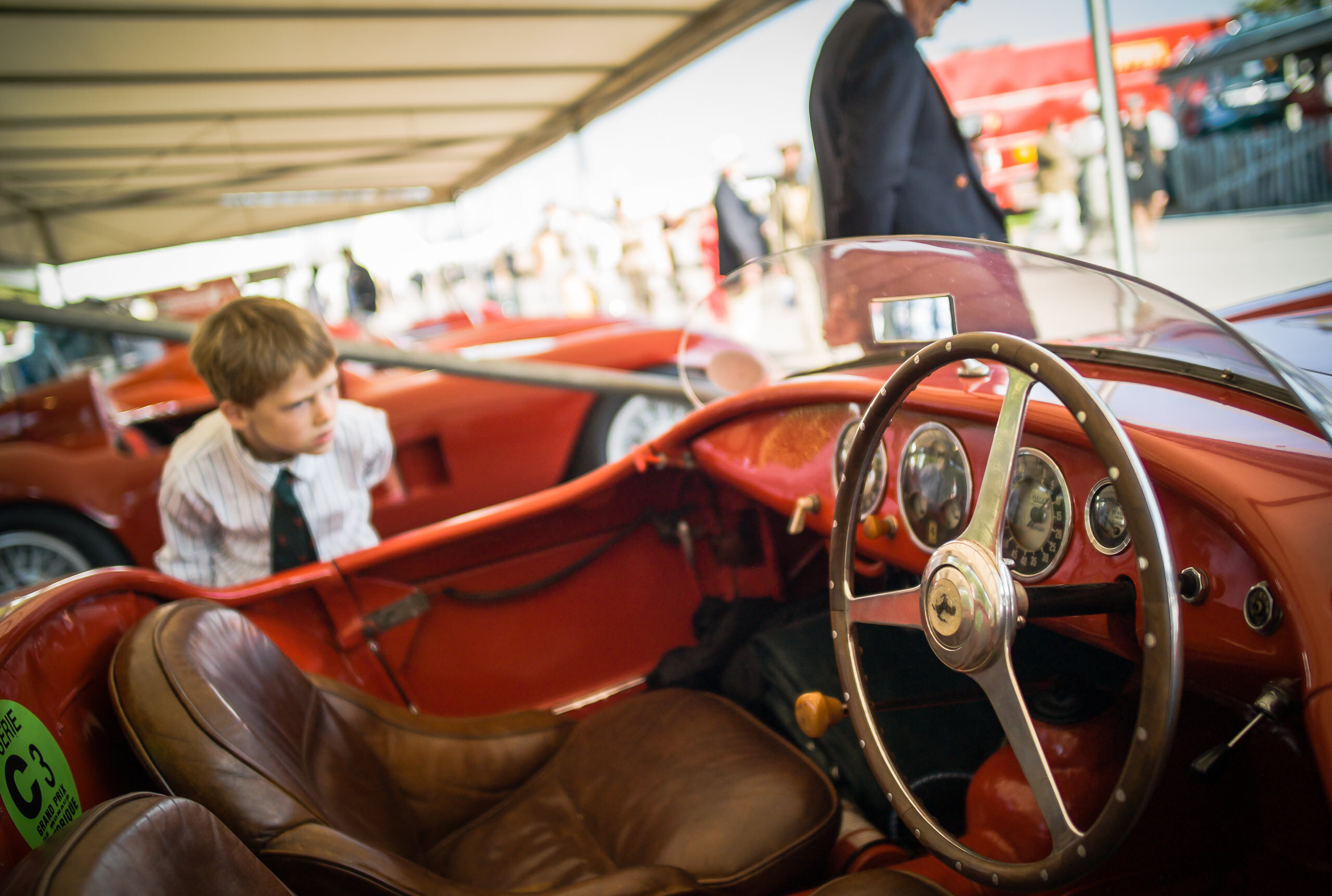Wayfinder Workshop Goodwood Revival 21Mm Summilux Ferrari Interior Boy By Brett Leica Photographer